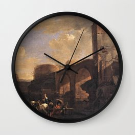 Jan Asselijn - Italianate Landscape with a River and an Arched Bridge Wall Clock