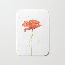 Red Poppy Flower Watercolor Bath Mat
