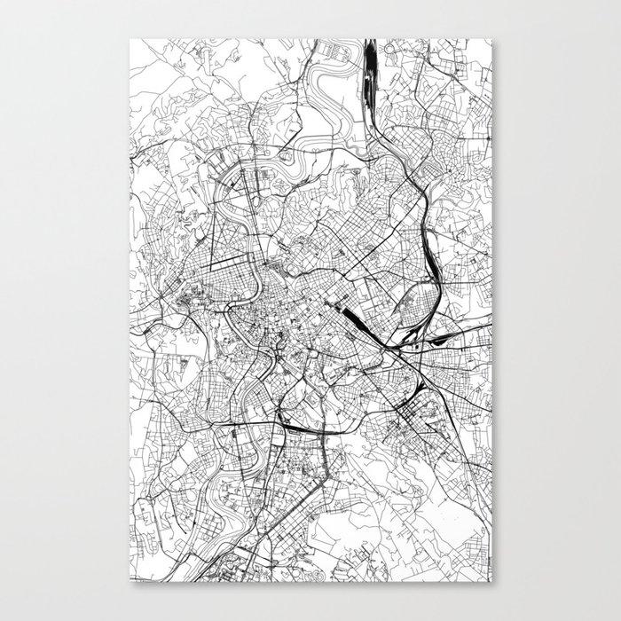 Rome White Map Canvas Print