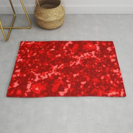 A chaotic cluster of red bodies on a light background. Rug