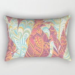 Modern abstract pink teal yellow hand painted bohemian feathers Rectangular Pillow