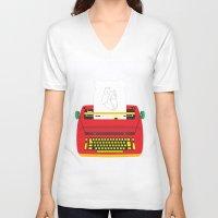 typewriter V-neck T-shirts featuring Typewriter by EinarOux
