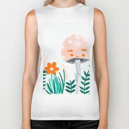 pink mushroom with floral elements Biker Tank