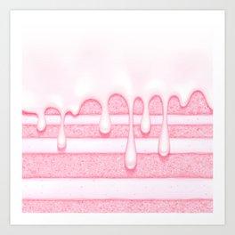 Pink Strawberry Birthday Cake Art Print