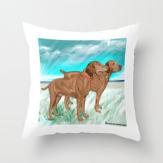 Vizslas by the Sea Throw Pillow