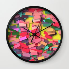 pink colored bricks Wall Clock