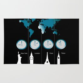 TIME ZONES. NEW YORK, LONDON, PARIS, TOKYO Rug