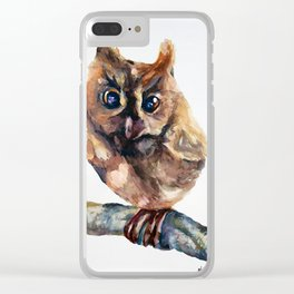 WATERCOLOR BABY OWL WOODLAND ANIMALS NURSERY COLLECTION Clear iPhone Case