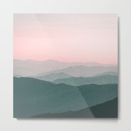 Dreamy mountains and pink sky. Metal Print