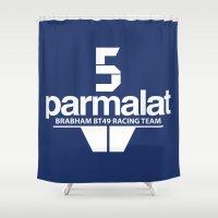 f1 Shower Curtains featuring Brabham F1 Racing Team BT49 by Krakenspirit