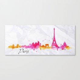 Silhouette watercolor Paris Canvas Print