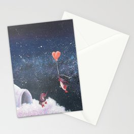 Penguin Lovers and Their New Home in the Stars Stationery Cards