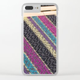 Striped point twill grey Clear iPhone Case