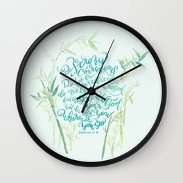 Be Strong and Courageous - Joshua 1:9 - bamboo Wall Clock