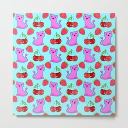Cute funny sweet adorable little pink baby tigers, little cherries and red ripe summer strawberries cartoon fantasy light pastel blue pattern design Metal Print