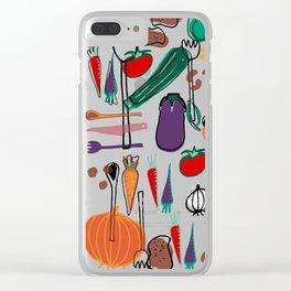 fall veggies blue Clear iPhone Case
