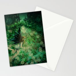 Abstract illustration of fairy fly in the forest Stationery Cards