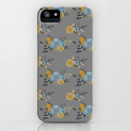 Roses and Billy Buttons - Gray Background - Floral Watercolor Pattern iPhone Case