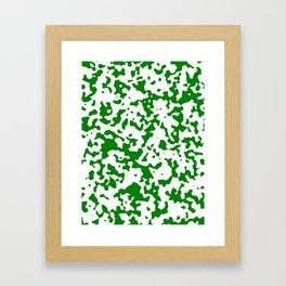 Spots - White and Green Framed Art Print