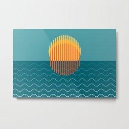 Minimalist Sunset Over Ocean, Holiday Print, Sun Set Poster, Large Printable Photography, Wall Art Metal Print