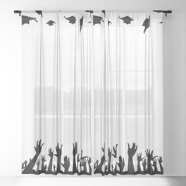 Students Throwing Caps Sheer Curtain