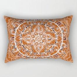 Detailed Burnt Orange Mandala Rectangular Pillow