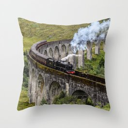HP Steam Train over the Glenfinnan Viaduct Throw Pillow