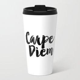 Carpe Diem black and white monochrome typography poster design bedroom wall art home room decor Travel Mug