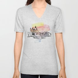 Venice. Watercolor and ink. Unisex V-Neck