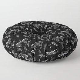 Luna Moth linocut minimal black and white pattern basic botanical nature Floor Pillow