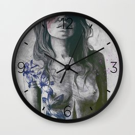 To The Marrow: Purple (faceless nude woman with lilies tattoos) Wall Clock