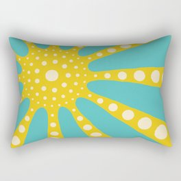 Abstract sunburst in mustard yellow, turquoise, off-white Rectangular Pillow
