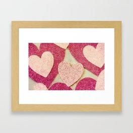 Vintage Pink Glitter Hearts Framed Art Print