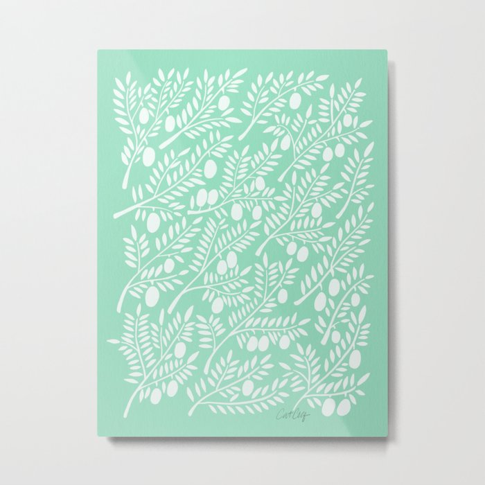 Mint Olive Branches Metal Print