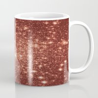 rose gold Mugs featuring rose gold stars by Space & Galaxy Dreams
