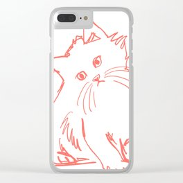 Katzen 001 / Minimal Line Drawing Of Two Cats Clear iPhone Case