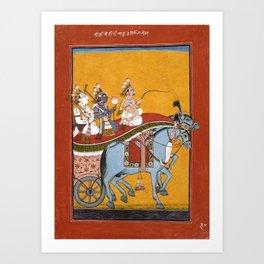Krishna and Balarama Being Driven by Akrura to Mathura Art Print