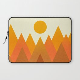 Modern Warming Abstract Geometric Mountains Landscape with Rising Sun in Hot Autumnal Ochre Colors Laptop Sleeve