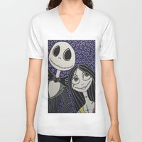 jack skellington V-neck T-shirts featuring Jack Skellington and Sally by KittyOG