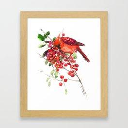 Cardinal Bird and Berries, red green Christmas colors artwork design Cardinal lover Framed Art Print