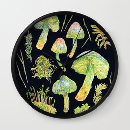 Parrot Toadstool and Moss - Dark Wall Clock