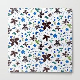 Butterfly Dots Metal Print