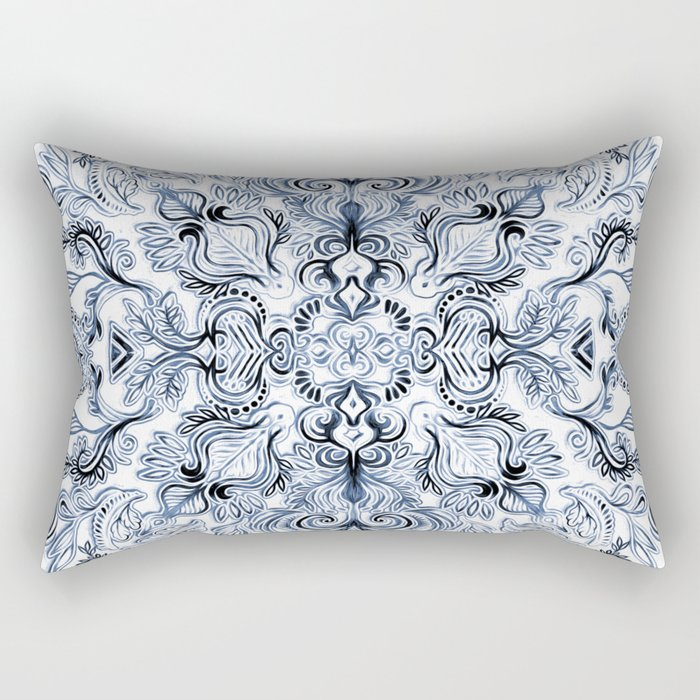 Indigo, Navy Blue and White Calligraphy Doodle Pattern Rectangular Pillow