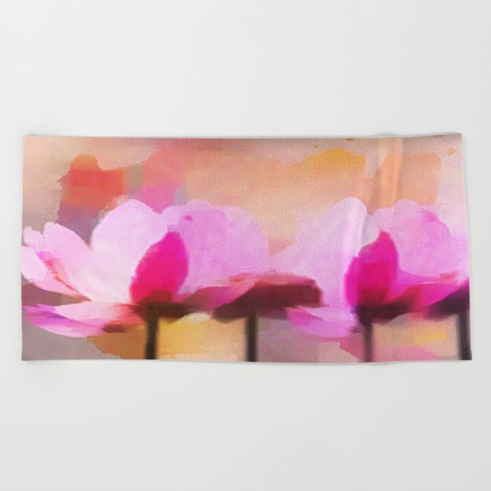 Anemone abstract hand painted Beach Towel