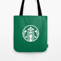 starbucks Tote Bags featuring Starbucks by nZ.Design