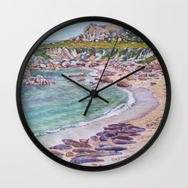 Harbor Seals at Hopkins Beach Wall Clock