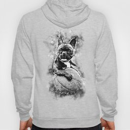 french bulldog basketball splatter watercolor black white Hoody