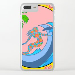 Girls Surf Too,solid color Clear iPhone Case