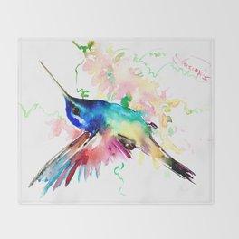 Hummingbird , Blue Turquoise Pink Throw Blanket