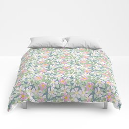 Pink Dogroses on Moody Blue Comforters